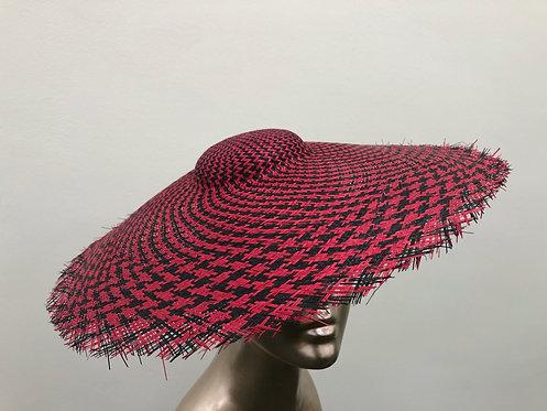 Red & Black Straw Sun Hat