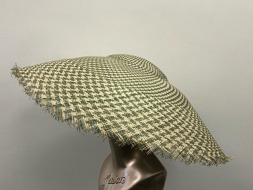Green & White Checked Straw Sun Hat