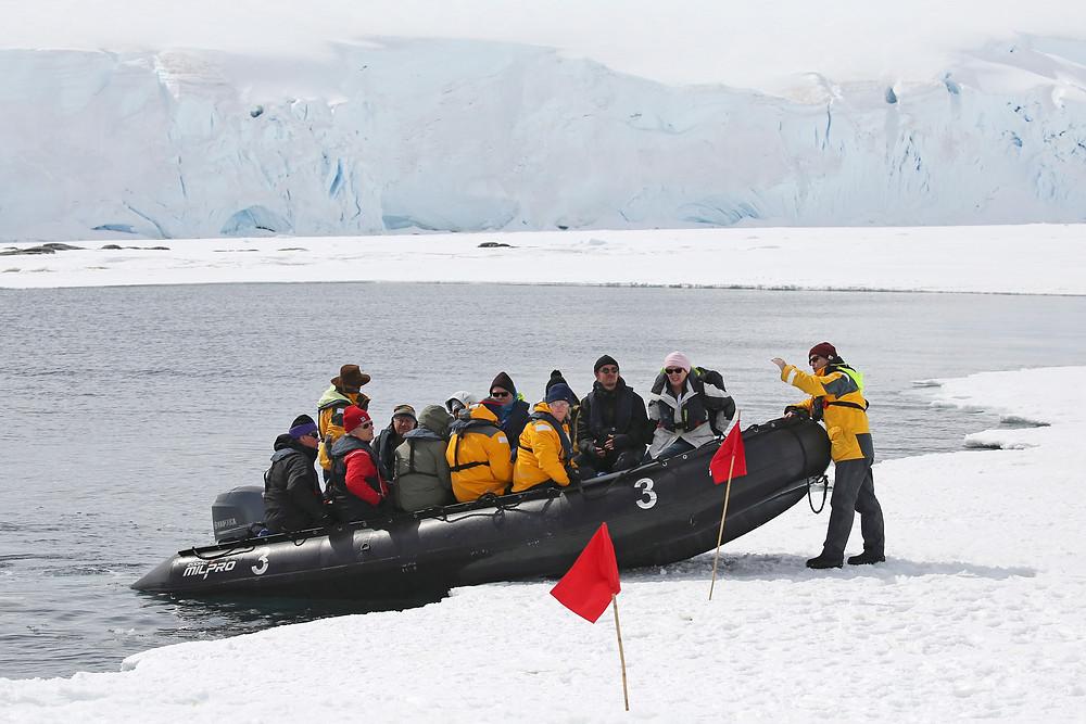 Sandra Walser, zodiac landing, ice walk, antarctica, zodiac milpro, polar regions, expedition guide, expedition guide academy, expedition guide training