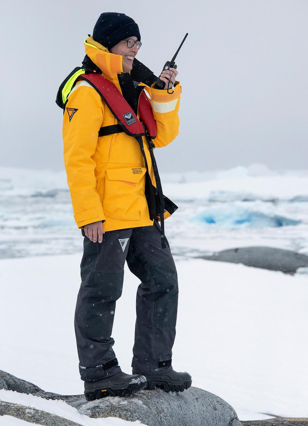 assistant expedition leader, sandra walser, expedition guide, expedition guide academy, expedition guide training, vhf radio, sea ice, ice berg, antarctica, arctic