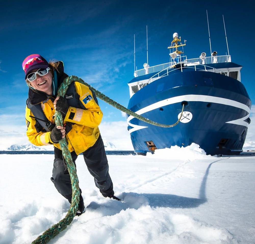 expedition guide, sarah merusi, polar guide, sea ice, expedition guide academy, industry expert, antarctica, ship, ocean nova, expedition guide life