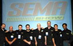 ICON /CRITICAL MASS CREW ACCEPTING BEST PRODUCT AWARD SEMA SHOW