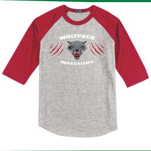 Wolfpack Wrestling 3/4 sleeve T-shirt