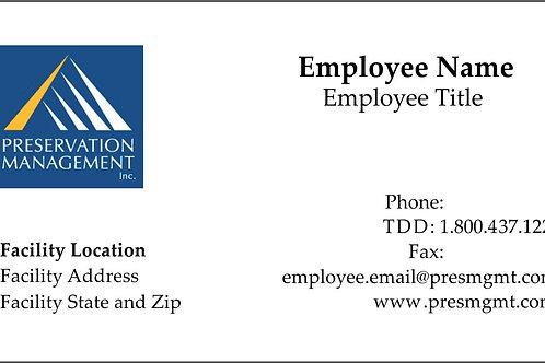 Preservation Management Business Card