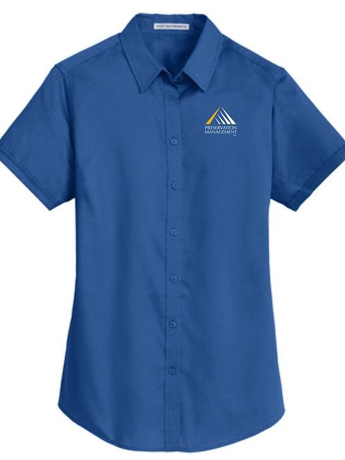 Preservation Management Ladies Short Sleeve Twill Shirt