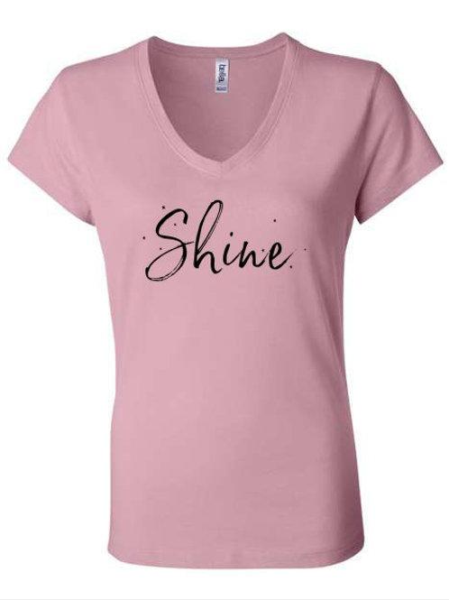 Shine Hair Salon Ladies V-Neck T-shirt