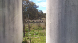 Visitors between the water tanks