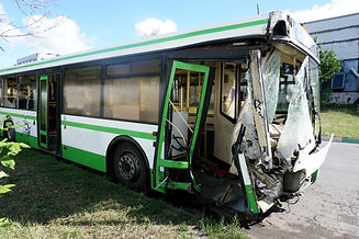 Broken in an accident the bus is in the