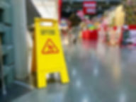 Warning label caution wet floor in the m