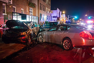 Multiple car crash night city emergency