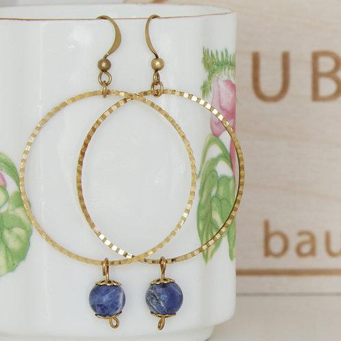 Brass Hoop Sodalite Earrings