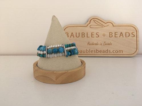 Bohemian gemstone bracelet - 3 strands