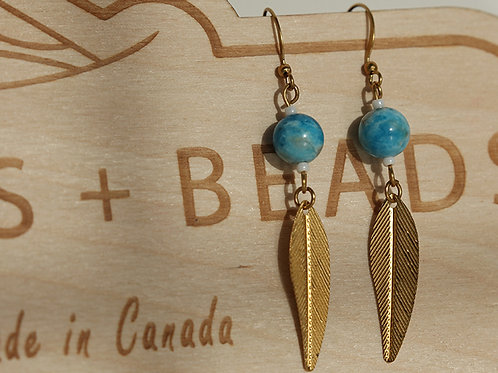 Leaf Earrings with Apatite Gem