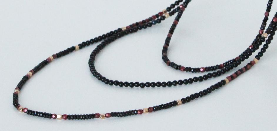 Black Spinel and  Swarovski Pearls