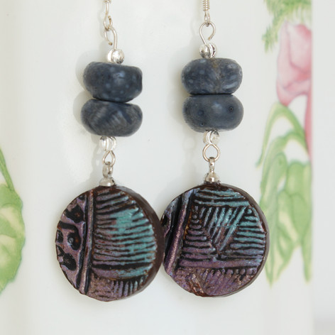 Mandala Blue Coral Hippie Earrings