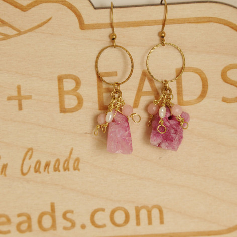 Pink Raw Ore Earrings