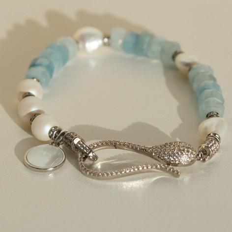 Sterling Silver Boho Aquamarine Bracelet