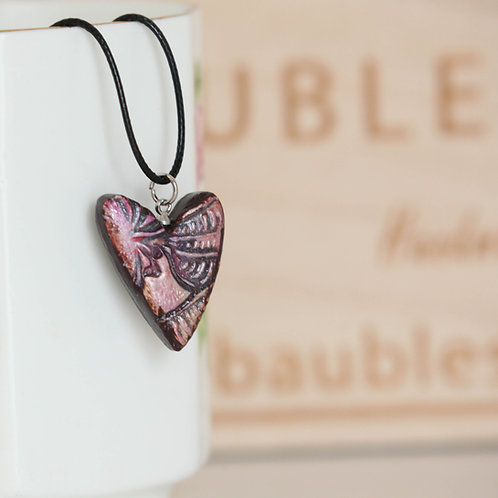 Handmade Pink Heart Polymer Clay Necklace