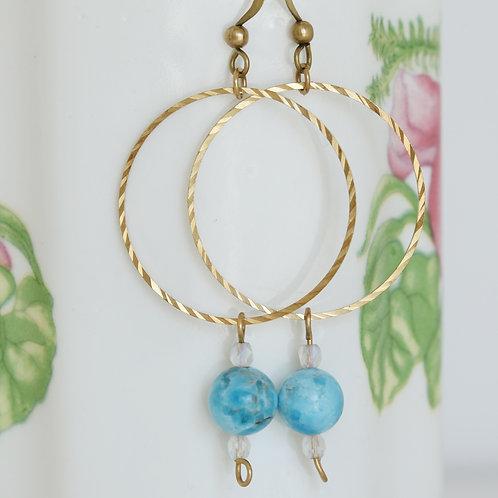 Brass Hoop Earrings Apatite