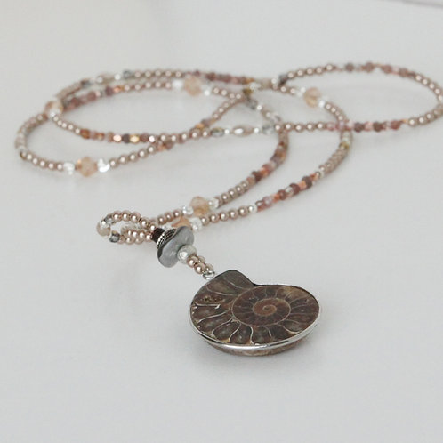 Chocolate Moonstone and Ammonite Necklace