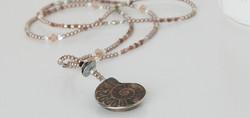 Chocolate moonstone and ammonite jewelry