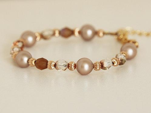 Rose-Gold Swarovski Pearl Bracelet