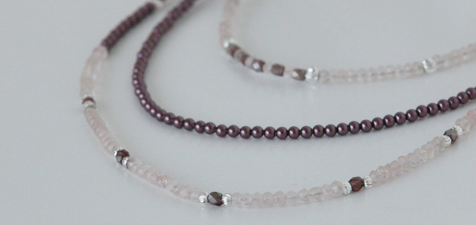 Rose quartz and Swarovski pearls triple strand necklace