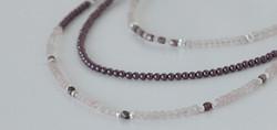 Rose quartz and Swarovski pearls triple strand necklace