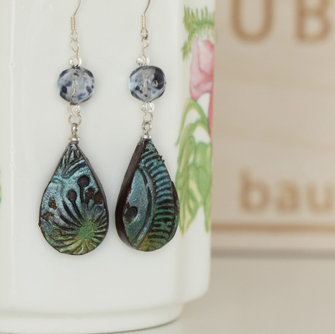 Handmade Blue Clay Earrings