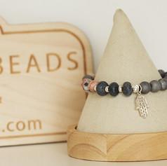 Blue Coral & Druzy Stretch Bracelet