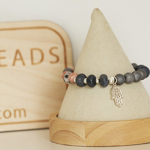 Blue Coral & Druzy Stretch Bracelet