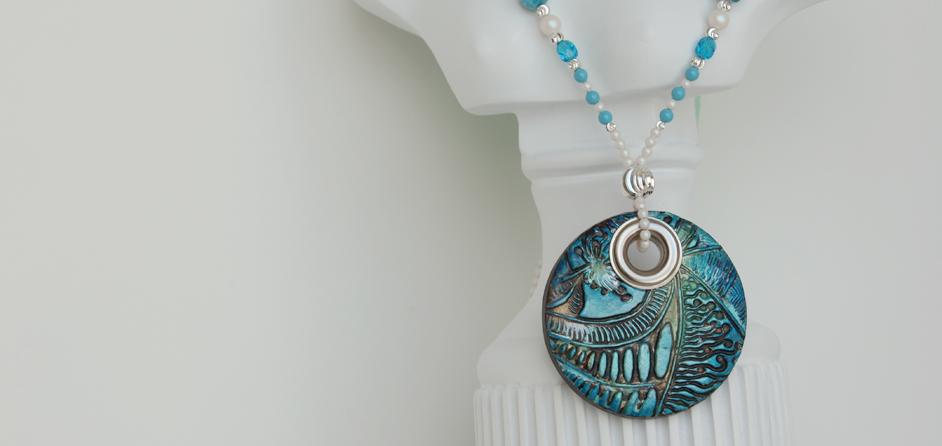 Beaded Boho Necklace & Art Pendant