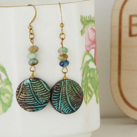 Green Boho Hippie Earrings