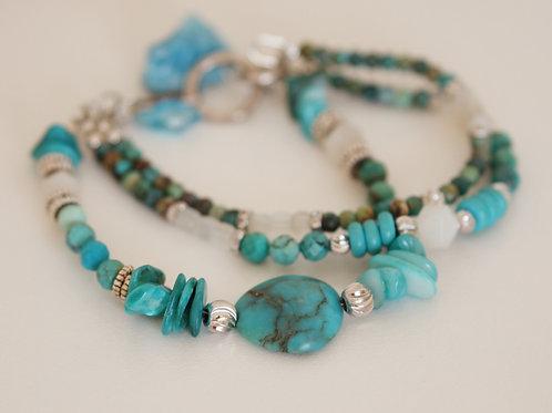 Turquoise Stone Bracelet 3 Strands