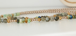 Necklace Features Labradorite, Jade, and Lapis Lazuli