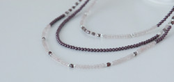 Rose Quartz Necklace with three strands of swarovski pearls and sterling silver beads