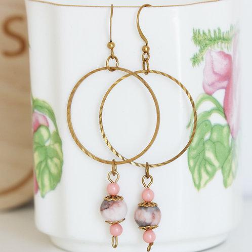 Brass Hoop Pink Zebra Earrings