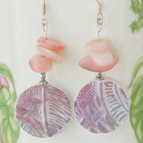 Rose- & Purple-Colored Boho Earrings