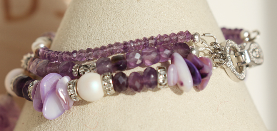 Amethyst, Pearls, and Czech Beads