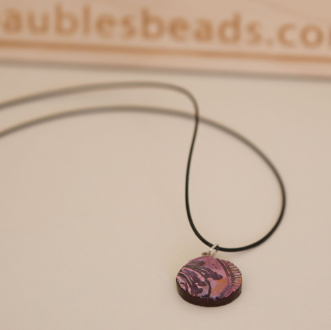 Handmade Pink Polymer Clay Delicate Necklace