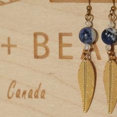 Copper Earrings Handmade (Sodalite)