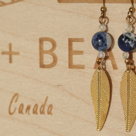 Copper Earrings Handmade (Sodalite)