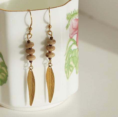 Earrings Copper Leaf Design