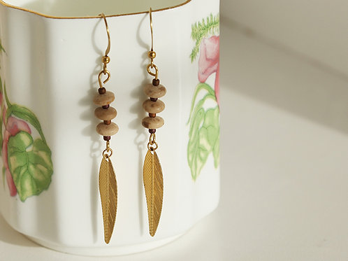 Earrings Leaf Design Brass