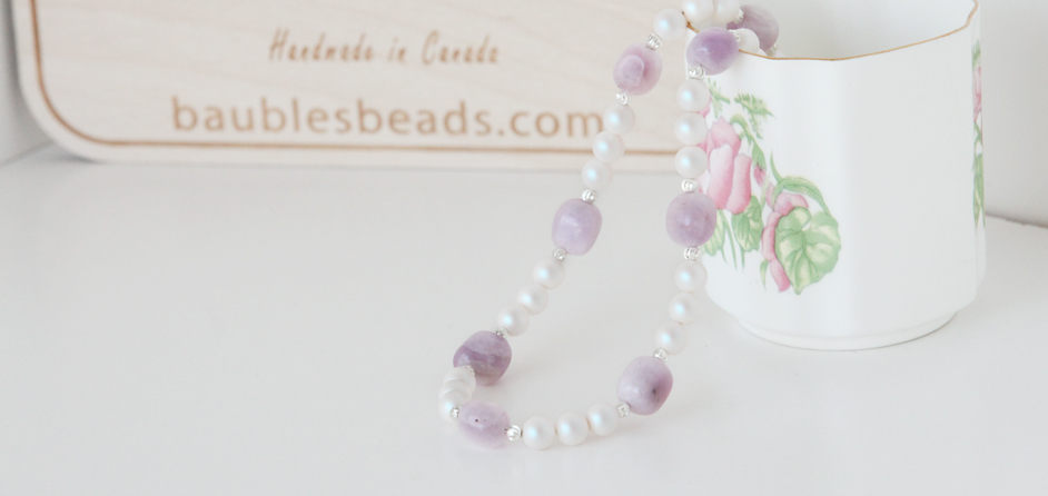 Kunzite & Swarovski pearl necklace