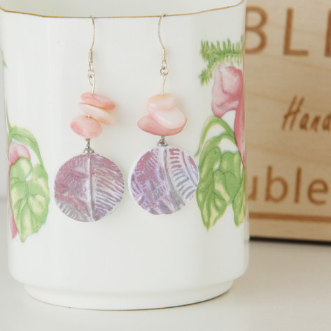Rose- & Purple & Rose-Colored Boho Earrings