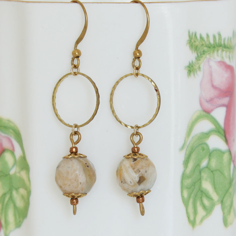 Copper Hoop Amazonite Earrings