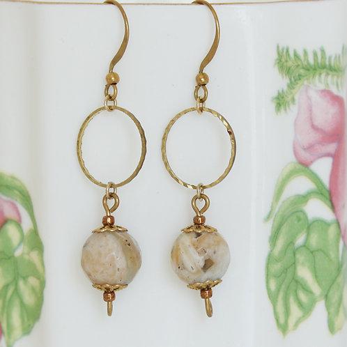 Brass Hoop Amazonite Earrings
