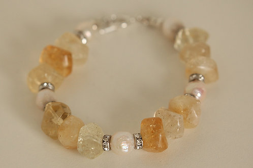 Natural Citrine Bracelet with Ripple Pearls