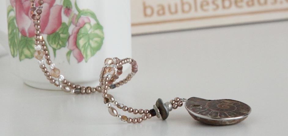 AAA chocolate moonstone and ammonite